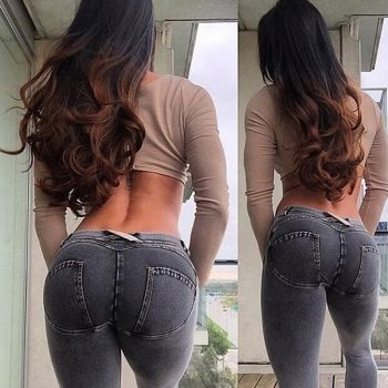 Fashion Women Solid Push Up Blue Sexy Denim Jeans Full Hip Skinny High Waist Stretch Jeans For Female Fashion Slim Pencil Pants