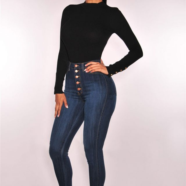 England Style Slim High Waist Skinny Jeans Women  Push Up Sexy Button Plus Size Vintage Pencil Pants Mujer Cotton Denim 2018 New