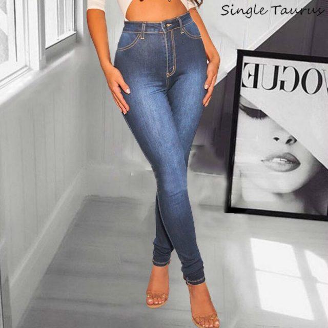 High Waist Skinny Jeans Women Fashion Casual Slim Push Up Denim Pants Bleached Vintage Vaqueros Mujer Elasticity Ladies Jeans