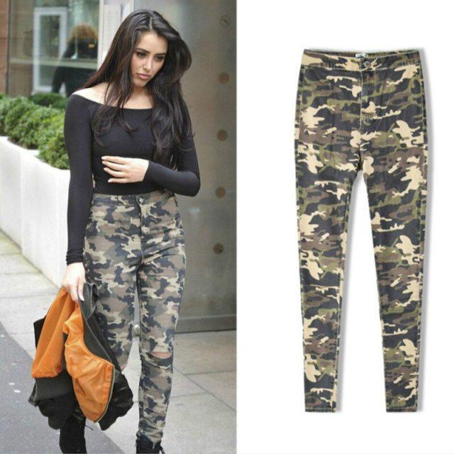 High Waist Camouflage Jeans Women Knee Hole Pantalon Militaire Femme Push Up Military Cintura Alta Skinny Denim Pants Mujer 2019