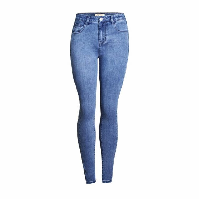 Gold Plated Eyelet Streetwear Skinny Jeans Woman Blue Vintage Womens Jeans Denim Women Clothes Elasticity Push Up Ropa Mujer