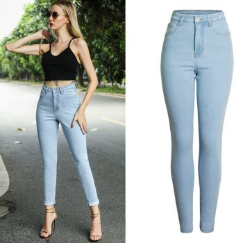 2019 Spring High Waist Skinny Jeans Women Light Blue High Street Slim Push Up Pencil Pants Washed Vintage Alopette Femme En Jean