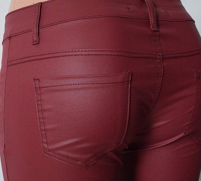 Low Waist PU Leather Pants Women Double Zipper Skinny Jeans Femme High Stretch Push Up Pants Feminino Wine Red Pantalon Femme
