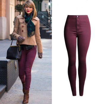 High Waist Jeans Women High Quality Elasticity Skinny Jeans Mujer Push Up Pencil Pants Pantalon Femme Red Wine Jeans Feminino Oh