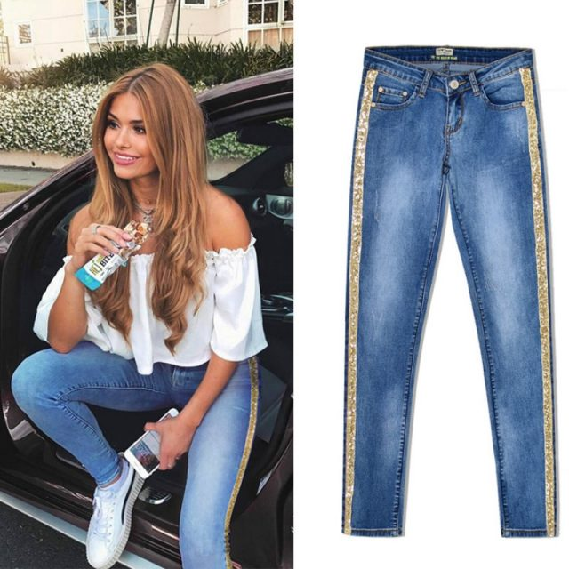 2019 Spring New Low Waist Metal Side Stripe Jeans Women Cotton Denim Slim Skinny Pencil Pants Mujer Embroidered Sequins Trousers