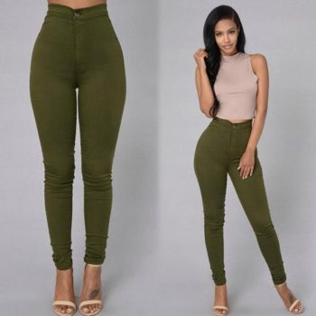Womens Skinny Slim Fit Denim Jeans Casual Solid Color Pants Trouser NGD88