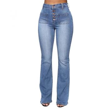 Washed High Waist Button Boot-cut Jeans Women Casual Long Pants Trousers NGD88