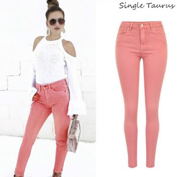 High Waist Pink Skinny Jeans Women Streetwear England Plus Size Denim Pants Femme Elegantes Lady Pencil Pants Vaqueros Mujer