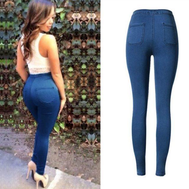 High Waist Slim Skinny Jeans Women Plus Size Cotton Soft Legging Streetwear Push Up Pantalon Femme Deep Blue Trousers Women 2019