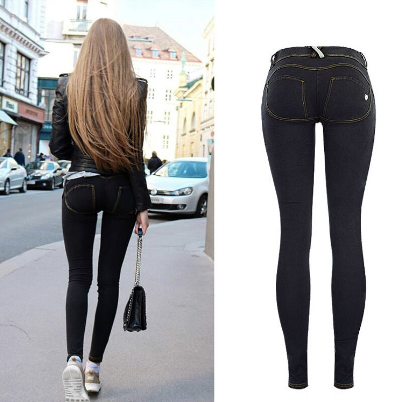 High Street Push Up black Denim Pants Mujer Low Waist Skinny Pencil Pants Femme Fashion Super Stretch Slim Soft Comfort Jeans