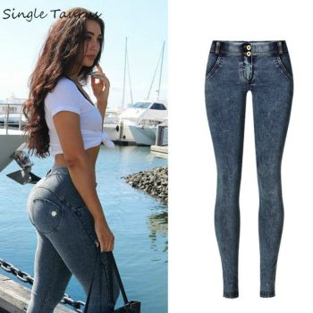 Low Waist Push Up Jeans Women Fashion High Street Snow Wash Slim Elasticity Skinny Denim Pants Soft Cotton Vaqueros Mujer 2019