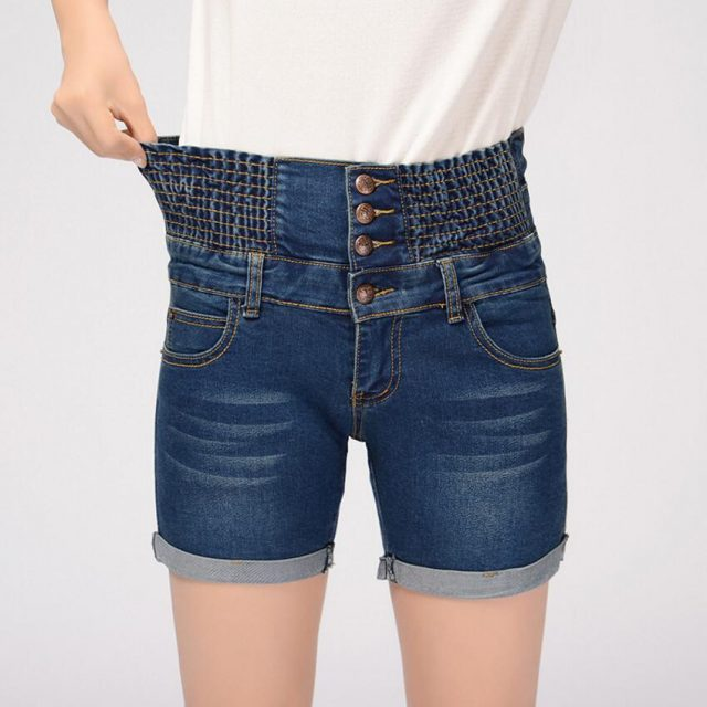 Jeans For Women Summer High Waist Button Shorts Female Tight Elasticity Small Pants Korean Version Cuffs Was Thin Denim Shorts