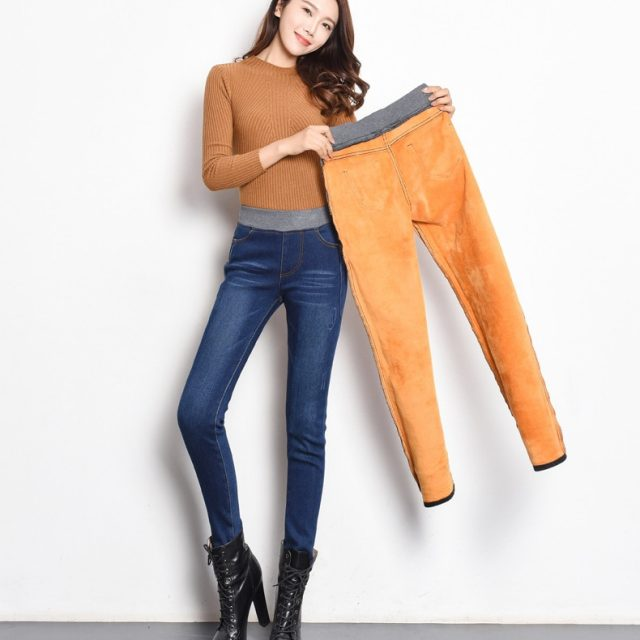 Velvet warm Jeans for Women With High Waist Tight Jeans Winter Pencil Trousers Woman Skinny Jeans Stretching Plus Size