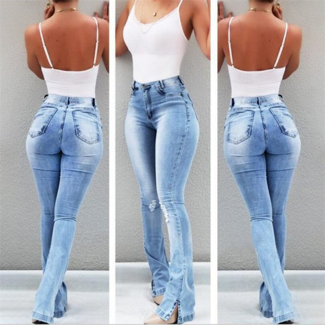 New 2019 women's wear, high-waisted, open-footed, slightly ripped women's jeans