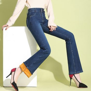 Women Fleece Jeans Winter High Waist Thicken Denim Flare Pants New Fashion Sexy Snow Jeans  OL Trousers Warm Streetpants P9245