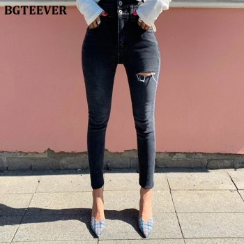 BGTEEVER High Waist Skinny Jeans Women Streetwear Ripped Holes Pencil Jeans Female Denim Jeans Stretch Denim Pants femme 2019