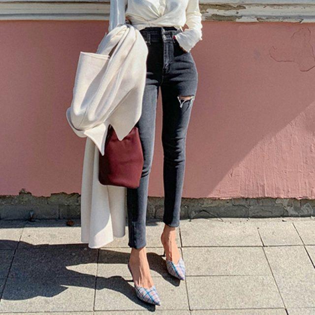 BGTEEVER High Waist Skinny Jeans Women Streetwear Ripped Holes Pencil Jeans Female Denim Jeans Stretch Denim Pants femme 2019