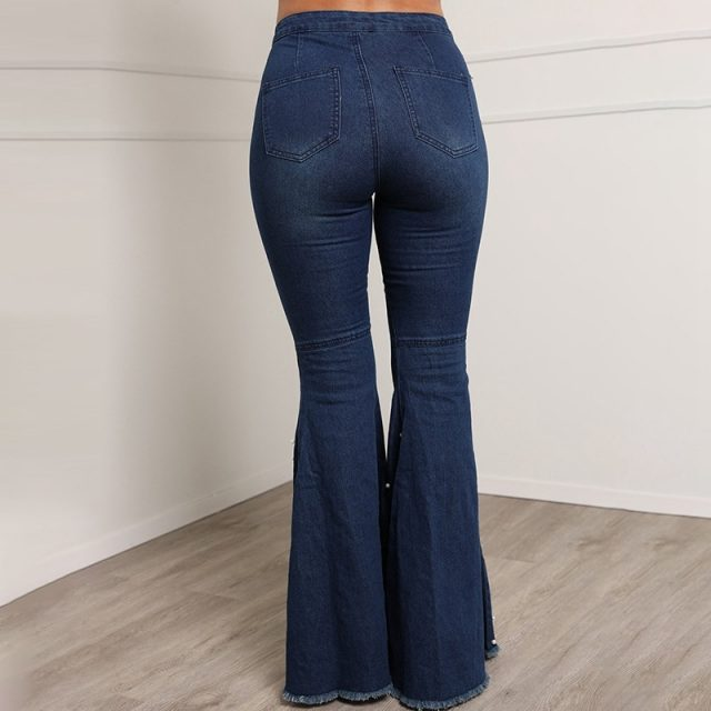 Beaded Denim flare jeans Women high waist elastic skinny jeans Wide Leg Trousers ladies Casual bell bottom jeans Pants plus size