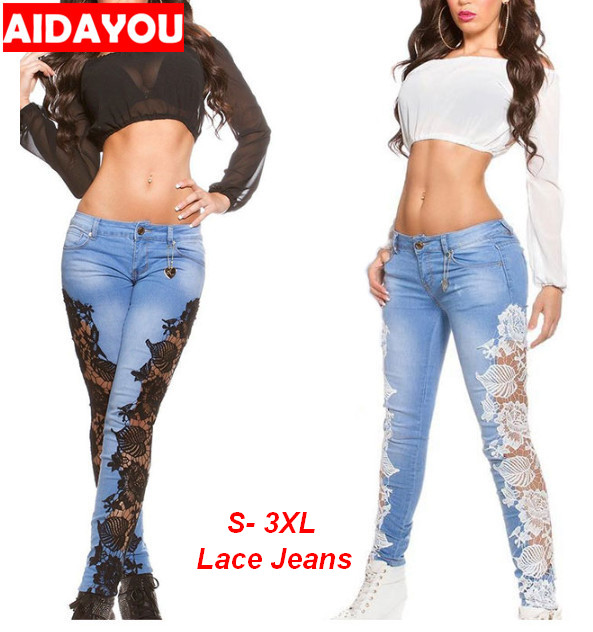 Lace Jeans for Women embroider Pencil pants for Daily beach skinny hole high street Denim pants ouc2478