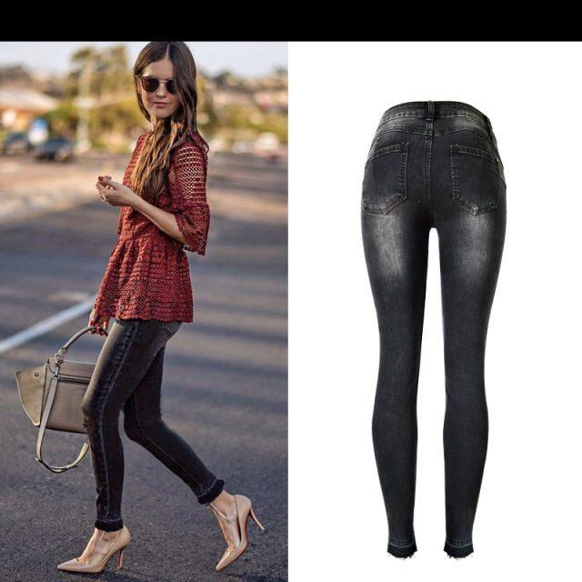 2019 Autumn winter fashion high waist slim stretch gray-black nine points jeans women casual tassel ripped jeans for women K198