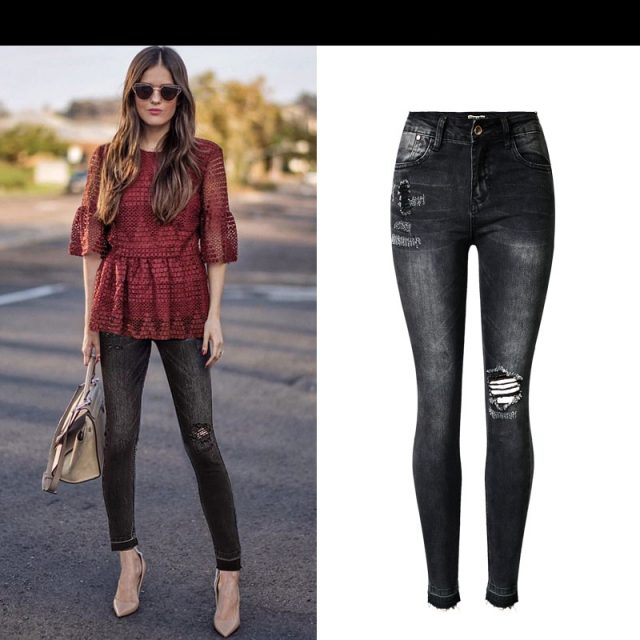 2019 Autumn winter fashion high waist slim stretch gray-black nine points jeans women casual tassel ripped jeans for women K198
