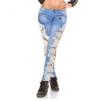 Women's Denim Pants Side Lace Patch Skinny Jeans