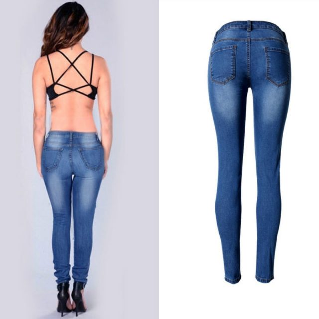 Low Waist Bleached Washed Skinny Jeans Women Fashion Push Up Vintage Moustache Effect Pencil Pants Femme Blue Plus Size Trousers