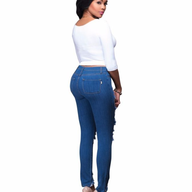 2018 Summer Skinny Jeans Women Stretch Tight Trousers  Sexy Ripped High Waist jeans Push Up Hip plus size Pencil Pants Female