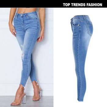 high waisted denim jeans Women Skinny distressed Pencil Jeans Slim Hole Ripped Denim Pants Female Sexy Trousers jean mujer