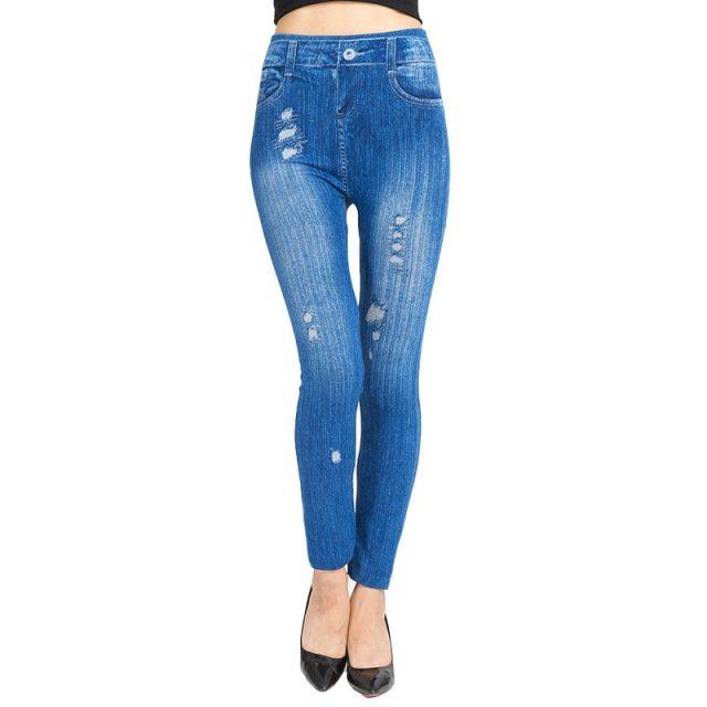 Ladies Floral Print Faux Denim Leggings Butterfly Printing High Waist Elastic Jeans Leggings Push Up Skinny Pants Leeging Femme