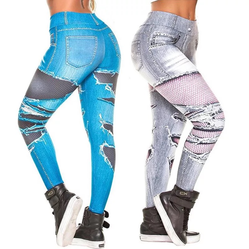 Autumn 2019 Fashion Printing High Waist Jeans Leggings Women Push Up Sexy Fitness Slim Denim Legging Punk Elastic Skinny Pants