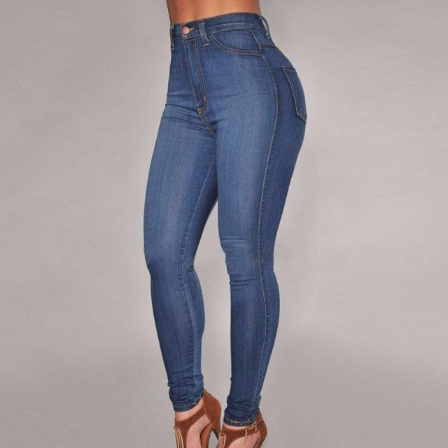 2018 Autumn Slim Elasticity Skinny Jeans Women Europe High Waist Push Up Pencil Pants Mujer Casual Deep Blue Vintage Plaid Denim