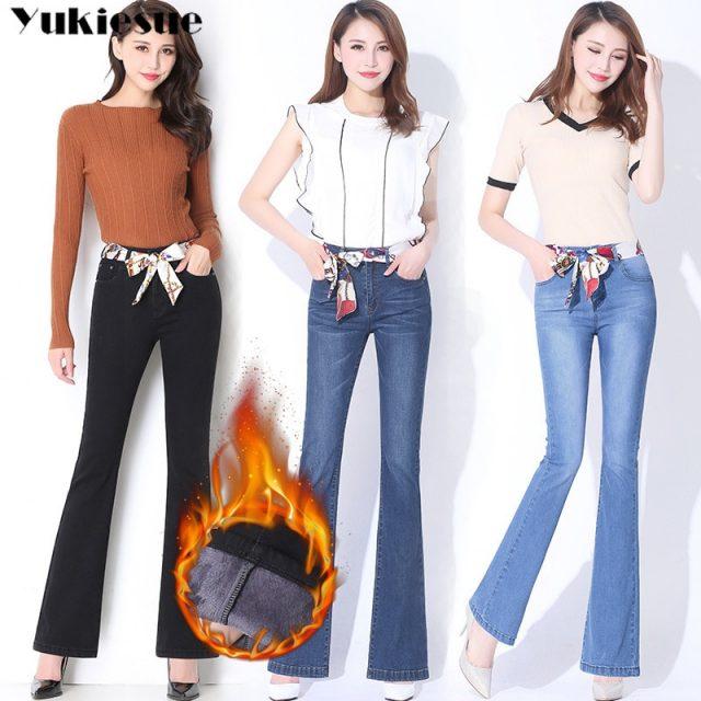 high waist womans jeans woman 2019 winter warm fleece thick womens denim flare jeans for mom black jean femme donna Plus size