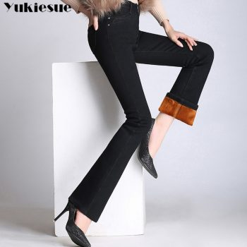 high waist womans jeans woman 2019 winter warm fleece thick womens denim flare jeans for mom black jean femme donna Plus size