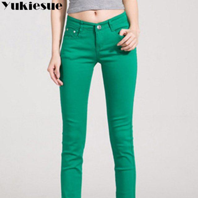 High waist jeans for women 2018 winter autumn jeans woman skinny slim OL office denim pencil pants female jeans femme trousers