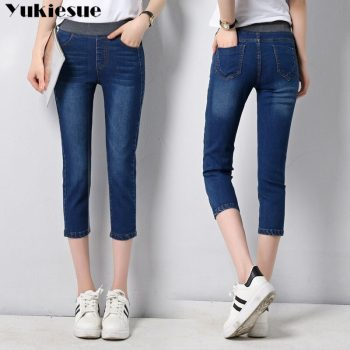 high waist jeans woman woman's jeans for women ripped jeans woman skinny calf length pants capris jeans women's jeans Plus size