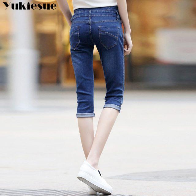 Plus Size Skinny Capris Jeans Woman Female Stretch Knee Length Denim Shorts Jeans Pants Women With High Waist elastic Summer