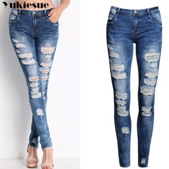 high waisted jeans woman fashionable woman's jeans for women ripped jeans woman hole boyfriend jeans women's jeans Plus size