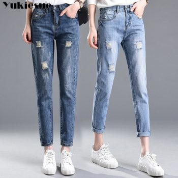 2018 Autumn High Waist mom jeans Female Boyfriend Jeans For Women Trousers Woman Pencil Pants Denim Ripped Jeans Plus Size