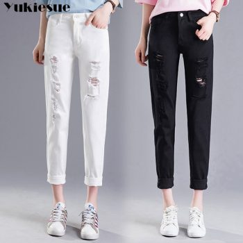 summer black white woman's jeans Boyfriend ripped jeans for women hole casual loose denim pants capris female jeans Plus size