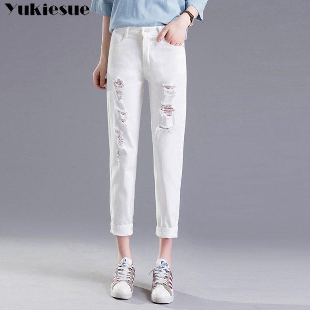 summer black white woman's jeans Boyfriend ripped jeans for women hole casual loose denim pants capris female jeans Plus size
