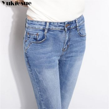 Slim Jeans For Women Skinny High Waisted Blue Denim Pencil Jeans Stretch Slim Pants Jeans Woman Pants Calca Feminina 2019
