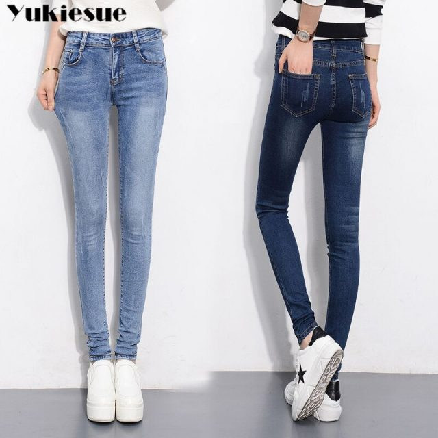 Slim Jeans For Women Skinny High Waisted Blue Denim Pencil Jeans Stretch Slim Pants Jeans Woman Pants Calca Feminina 2019
