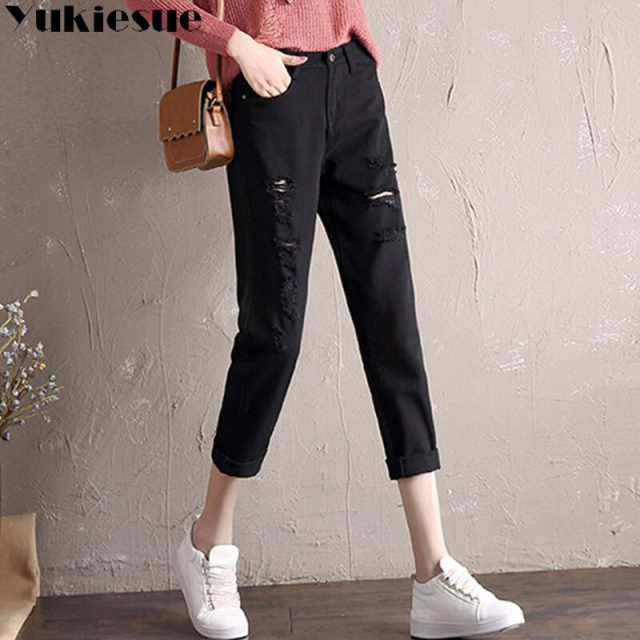 Boyfriend jeans for women with high waist hole loose denim harem pants female trousers jeans woman ripped jeans female Plus size