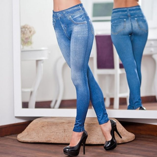 Newly Women Legs Shaping Leggings Fake Jeans Pants Pull-on Skinny Elastic Trousers
