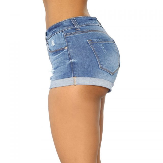 Women Plus Size Dames Jeans Broeken Pantalon Femme 2019 Holes Sexy High Waist Zipped Denim Skinny Fit Mini Shorts Jeans Pants Z4