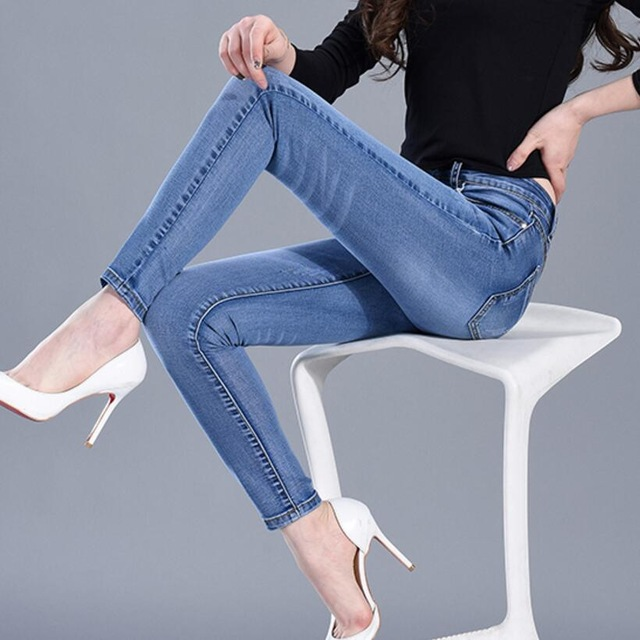 2019 New Fashion Skinny Denim Pencil Jeans Woman Elastic High Waist Trousers Black Blue Stretch Plus Size Washed Jeans Female