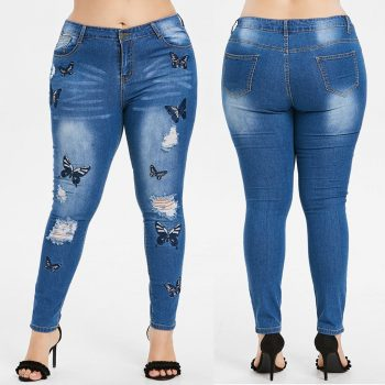 Women's Winter High Waist Plus Size Hole Embroidery Printed Pockets Jeans Dropshipping Leisure work man woman  Hot winter
