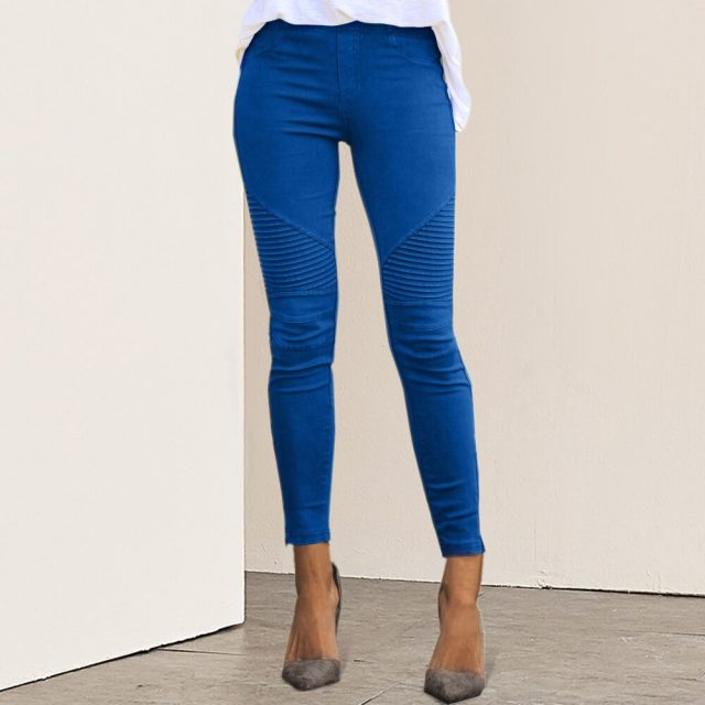 2019 New Women Jeans Legging Blue Striped Print Legging Women Imitation Jean Slim Fitness Legging Elastic Seamless Jeans