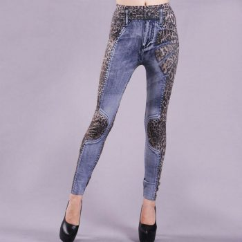 Leopard Print Women High Waist Skinny Denim Pants Slim Pencil Trousers Jeans
